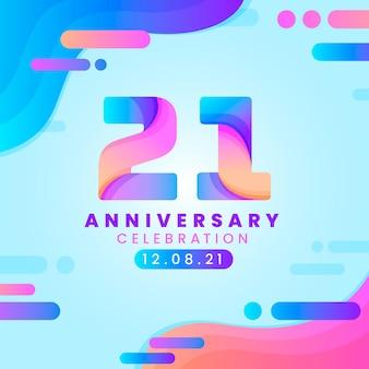 Hintergrund des bunten farbverlaufs 21 jahrestages