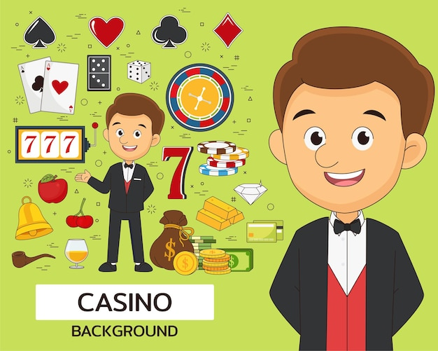 Hintergrund des casino-konzepts. flache symbole.