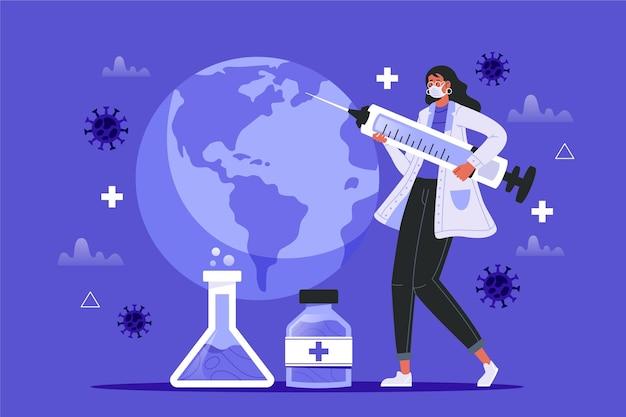 Hintergrund des coronavirus-impfstoffs mit illustriertem arzt
