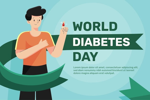 Hintergrund des diabetes-tages der flachen entwurfswelt