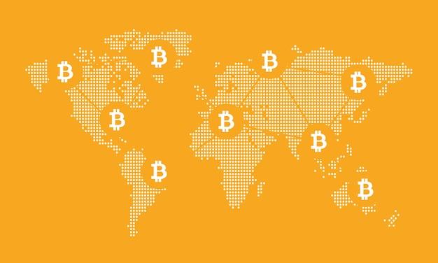 Hintergrund des digitalen netzwerks der weltkarte bitcoin-konzeptvektor