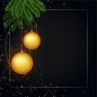 Hintergrund des dunklen schwarzen der frohen weihnachten mit textraum