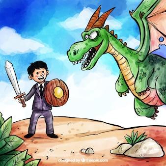 Hintergrund des geschäftscharakters kämpfend mit drachen