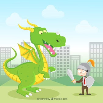 Hintergrund des geschäftscharakters kämpfend mit einem drachen