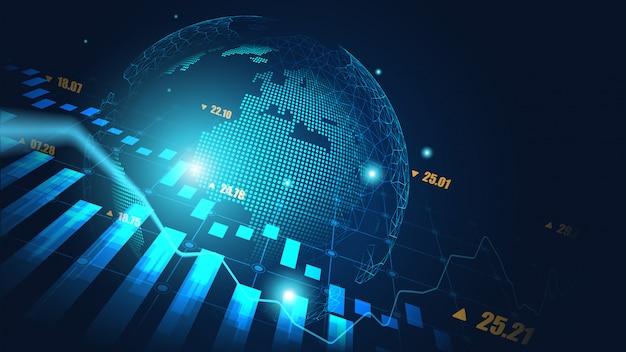 Hintergrund des globalen aktienmarkt- oder devisenhandelsgraphen