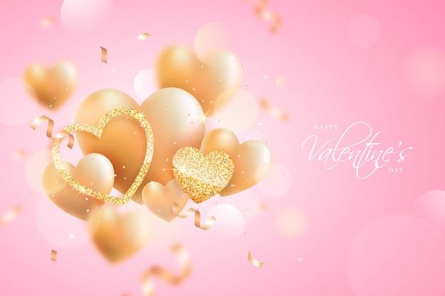 Hintergrund des goldenen valentinstags