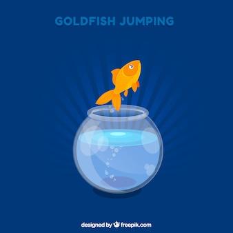 Hintergrund des goldfishspringens aus fishbowl