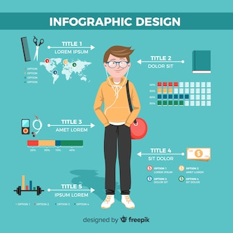 Hintergrund des infographic konzeptes hand gezeichneter junge