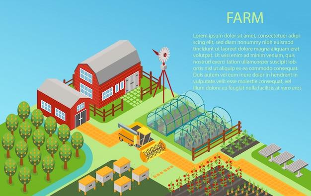 Hintergrund des isometrischen ländlichen bauernhofkonzepts 3d mit mühle, gartenfeld, bäumen, traktor kombinieren mähdrescher, haus, windmühle und lager.
