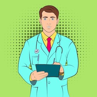 Hintergrund des jungen doktorkonzepts. pop-art-illustration des jungen doktorkonzepthintergrunds für web