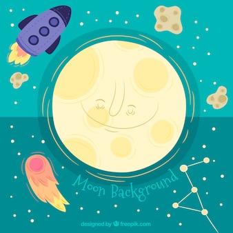 Hintergrund des lächelnden mondes mit rakete und meteoriten