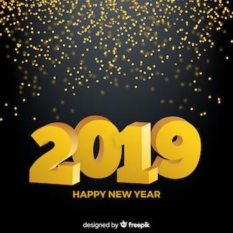 Hintergrund des neuen jahres 2019 der konfetti