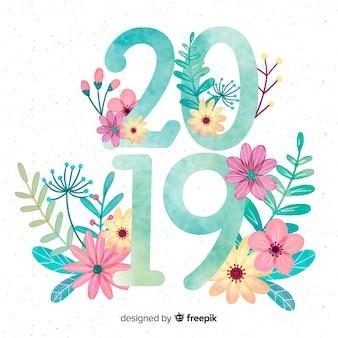 Hintergrund des neuen jahres 2019 des aquarells