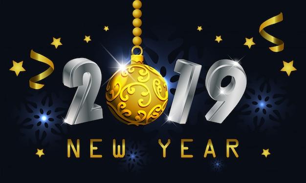 Hintergrund des neuen jahres 2019 mit balllicht