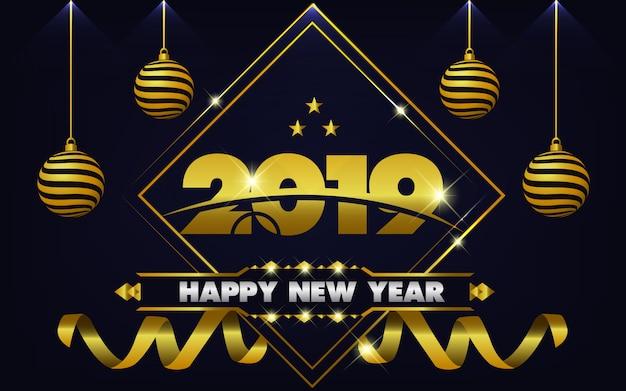 Hintergrund des neuen jahres 2019 mit hellem gold