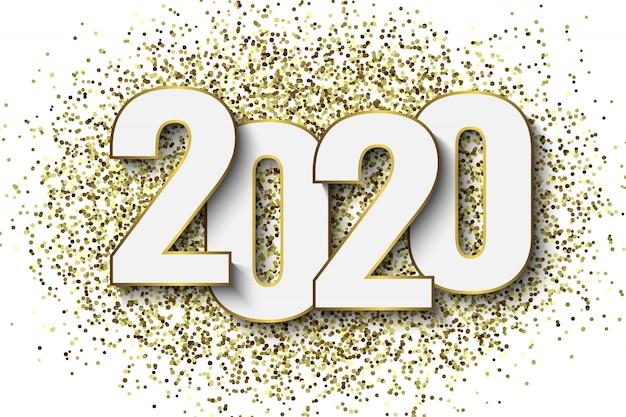 Hintergrund des neuen jahres 2020 mit goldfunkelnkonfettis