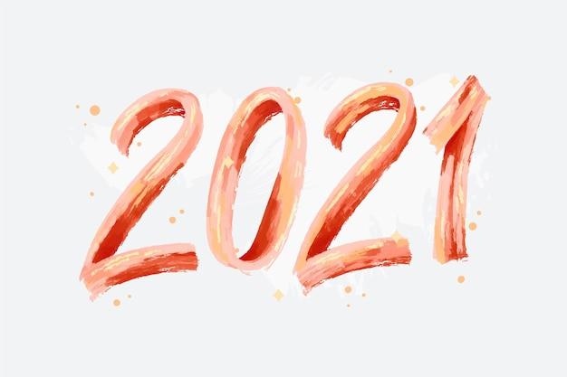 Hintergrund des neuen jahres 2021 des aquarellorangen-pinselstrichs