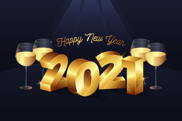 Hintergrund des neuen jahres 2021 mit realistischer goldener dekoration