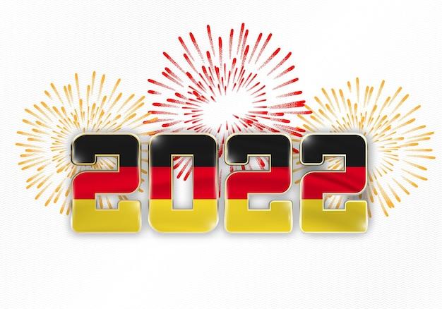 Hintergrund des neuen jahres 2022 mit nationaler flagge von deutschland und feuerwerk