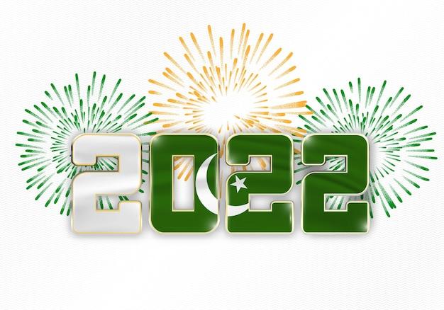 Hintergrund des neuen jahres 2022 mit nationaler flagge von pakistan und feuerwerk