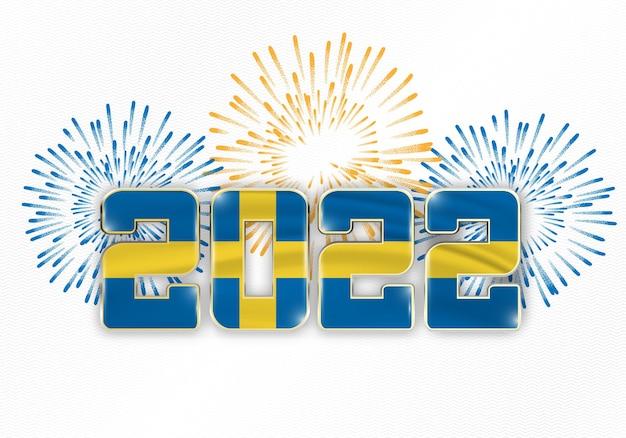 Hintergrund des neuen jahres 2022 mit nationaler flagge von schweden und feuerwerk