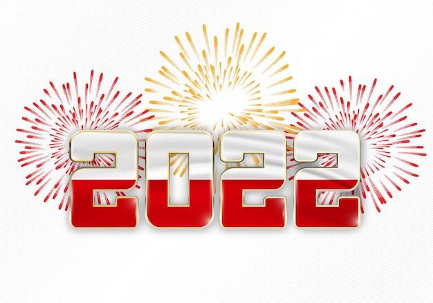 Hintergrund des neuen jahres 2022 mit nationalflagge von polen und feuerwerk