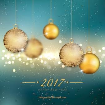 Hintergrund des neuen jahres mit goldene weihnachtskugeln