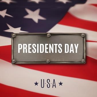 Hintergrund des präsidententages. stahlfahne oben auf amerikanischer flagge.
