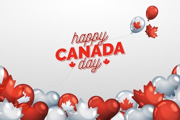 Hintergrund des realistischen nationalen kanada-tages und der luftballons