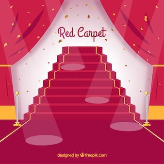 Hintergrund des roten teppichs in der flachen art
