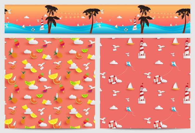 Hintergrund des sommers, der in quadratischen und parallax-kacheln verziert ist, besteht aus papierhandwerkselementen