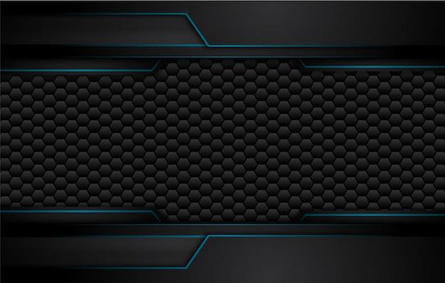 Hintergrund des technischen innovationskonzepts des abstrakten metallisch blauen schwarzen entwurfs