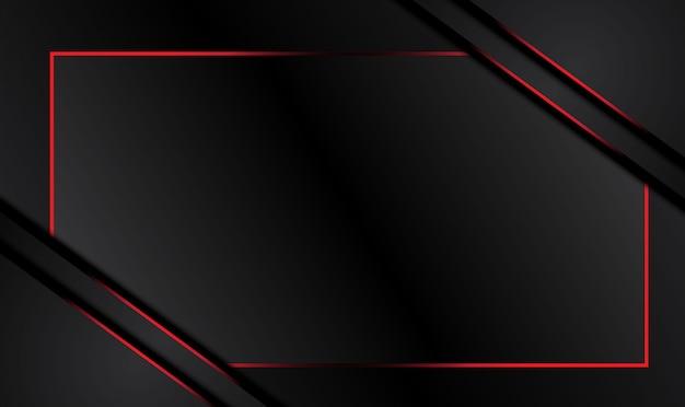 Hintergrund des technischen innovationskonzepts des abstrakten metallisch roten schwarzen rahmenlayoutdesigns.