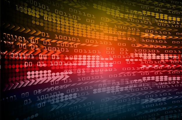 Hintergrund des technologiekonzepts der blauen gelben roten pfeil-cyberschaltung