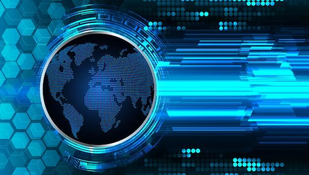 Hintergrund des technologiekonzepts der blauen welt cyber circuit