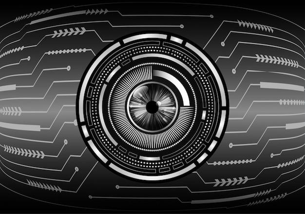 Hintergrund des technologiekonzepts der cyber-schaltung des blauen auges
