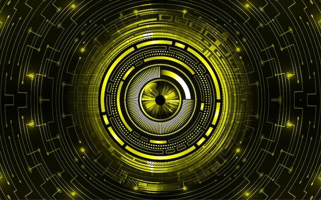 Hintergrund des technologiekonzepts der gelben augen-cyberschaltung