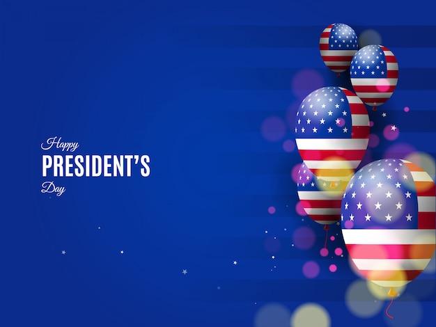 Hintergrund des usa-präsidenten tagesmit flaggenblasen