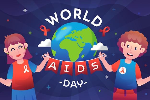 Hintergrund des welt-aids-tages mit farbverlauf