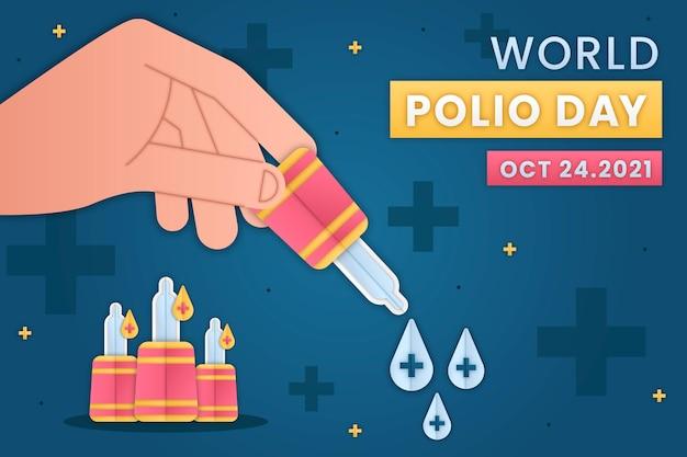 Hintergrund des welt-polio-tages im papierstil