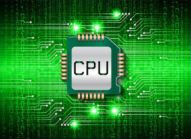 Hintergrund des zukünftigen technologiekonzepts der blauen cpu-cyberschaltung