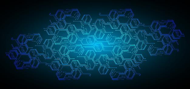 Hintergrund des zukünftigen technologiekonzepts der blauen sechseck-cyberschaltung