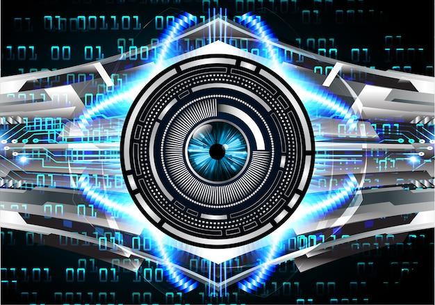 Hintergrund des zukünftigen technologiekonzepts der cyber-schaltung des blauen auges