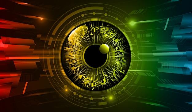 Hintergrund des zukünftigen technologiekonzepts der cyber-schaltung des blauen gelben auges
