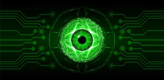 Hintergrund des zukünftigen technologiekonzepts der cyber-schaltung des grünen auges