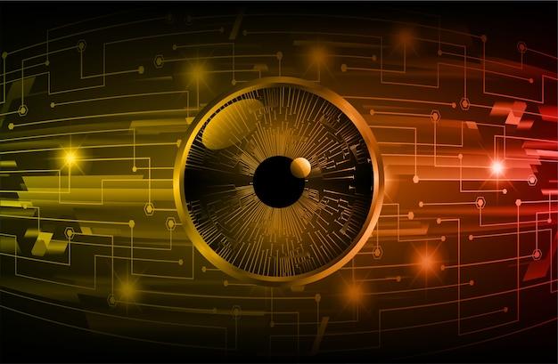 Hintergrund des zukünftigen technologiekonzepts der cyber-schaltung des orangefarbenen auges