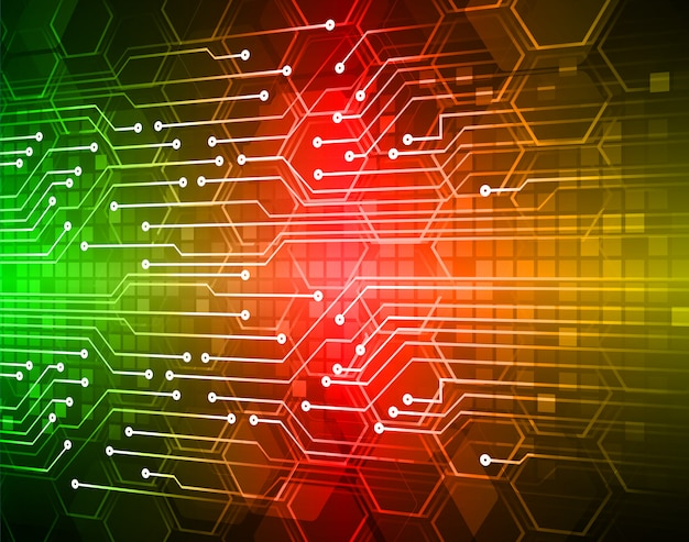 Hintergrund des zukünftigen technologiekonzepts der roten grünen cyberschaltung