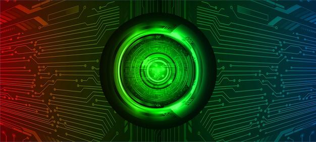 Hintergrund des zukünftigen technologiekonzepts des blauen roten grünen auges der cyberschaltung