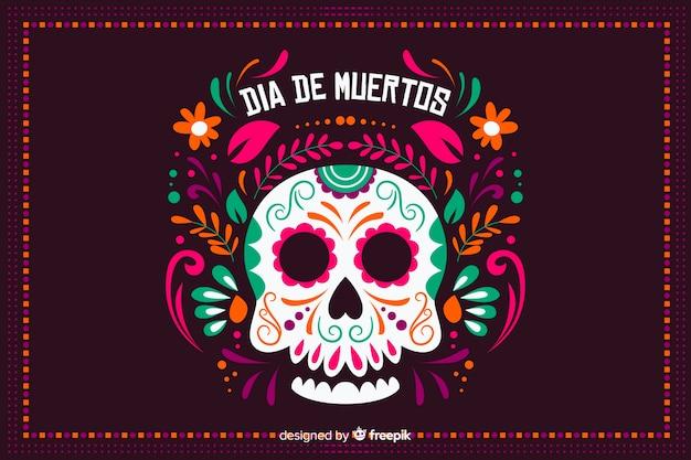 Hintergrund dia de muertos im flachen design