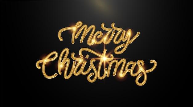 Hintergrund frohe weihnachten mit kalligraphischer goldener beschriftung.